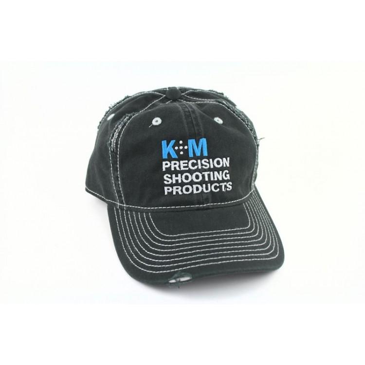 K&M Logo Hat - Black Distressed Look - 100% Cotton Twill