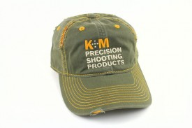 K&M Logo Hat Distressed Look - Army/Gold 100% Cotton Twill
