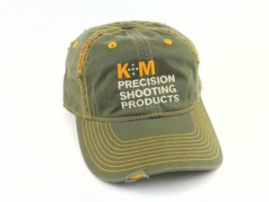 K&M Logo Hat Distressed Look - Army/Gold 100% Cotton Twill-0